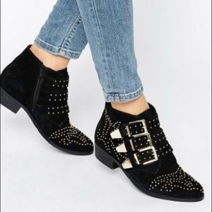 ASOS Office Alloy Stud Suede Ankle Boots